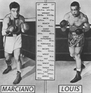 Marciano's journey to the heavyweight title involved fighting his hero, former Heavyweight Champion of the World, Joe Louis.